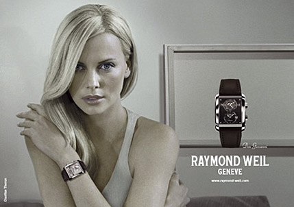 Picture of Charlize Theron in a Raymond Weil watch